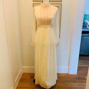 Antique Prairie Prom Dress Crocheted Lace Trim